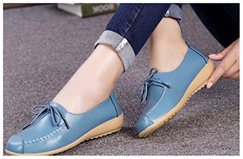 NEWZCERS Los cordones ocasionales de las mujeres que conducen los holgazanes calzan los zapatos de cuero del mocasín Azul