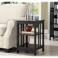 Square End Table Coffee Table With Two Storage Shelves Side Table With Under Storage Shelves Room Décor End Table Black Finish Cocktail Table Furniture Table Top TV Table
