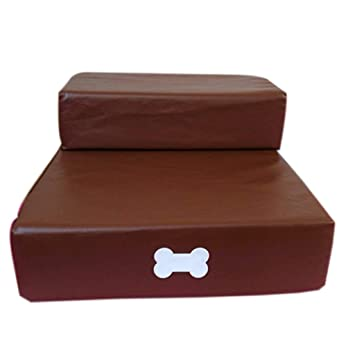 QZ Paso Plegable del Perro Brwon del Cuero De La PU De Las Escaleras del Animal Doméstico 2 Pasos para El Sofá del Sofá del Dormitorio: Amazon.es: Productos ...