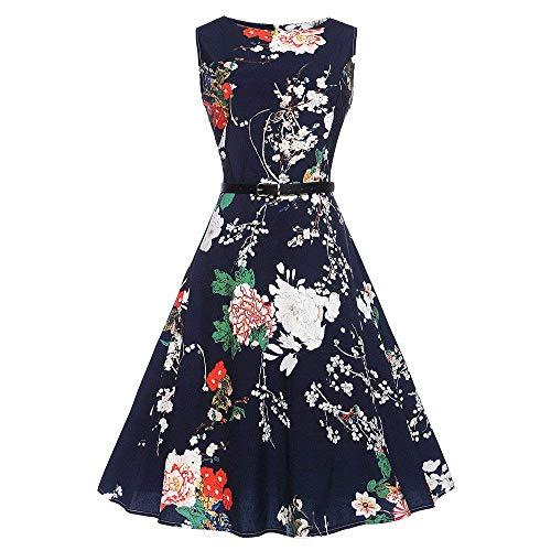 Small Vintage Hepburn Donna Da 3 Vita Swing A Senza Nero Vestiti Dimensione colore Abito Yingsssq 2 Alta Floral Pieghettato Maniche xqwfUE01