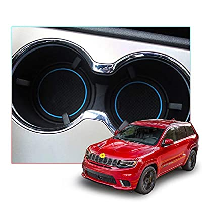 CDEFG Custom Fit Cup, Door and Center Console Liner Accessories for 2013 2014 2015 Grand Cherokee WK2, Car Slot Mat Cup Coaster Pad Non-Slip 14PC-Set (Blue Trim): Automotive