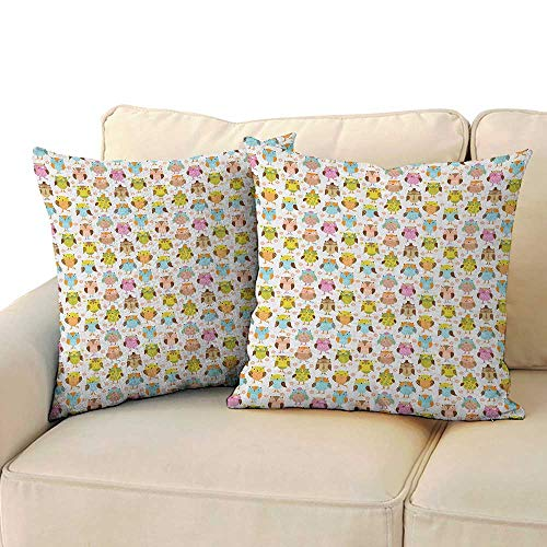 Ediyuneth Decorative Pillowcase Throw Pillow Owls,Artistic Floral Bird Figures Daisies Oranges Sunglasses Stripes Swirls Hearts Colorful, Multicolor 18