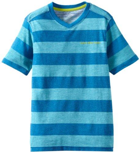 Calvin Klein Big Boys' Yarn Dye Stripe Signature V-Neck Top