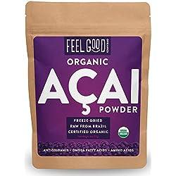Organic ACAI Powder (Freeze-Dried) - 4oz Resealable Bag - 100% Raw Antioxidant Superfood Berry From Brazil - by Feel Good Organics