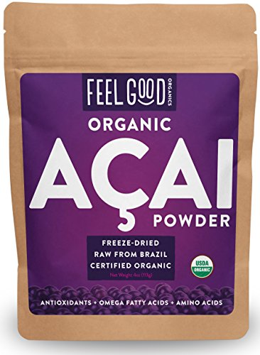 Organic ACAI Powder (Freeze-Dried) - 4oz Resealable Bag - 100% Raw Antioxidant Superfood Berry From Brazil - by Feel Good Organics - Berry Frozen Yogurt
