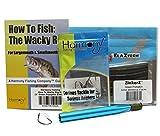Harmony Fishing Company Wacky Rig Kit - Z-Man ZinkerZ 6pk + Wacky Weedless Hooks 10pk + Wacky Tool w/ 10 Wacky Rings + How to Fish The Wacky Worm Guide (Green Pumpkin)