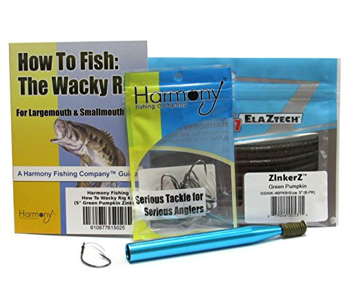Harmony Fishing Company Wacky Rig Kit - Z-Man ZinkerZ 6pk + Wacky Weedless Hooks 10pk + Wacky Tool w/ 10 Wacky Rings + How to Fish The Wacky Worm Guide (Green Pumpkin)