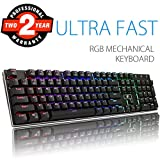 Cheap RGB Mechanical Keyboard, Aitalk Waterproof 104-Key No Conflict Gaming Keyboard with DIY Blue Switches Detachable USB Wired Backlit Keyboard for Mac PC Laptop Gamers – Black