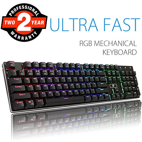RGB Mechanical Keyboard, Aitalk Waterproof 104-Key No Conflict Gaming Keyboard with DIY Blue Switches Detachable USB Wired Backlit Keyboard for Mac PC Laptop Gamers - Black by Aitalk