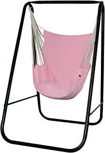 PIRNY Hammock Chair Stand with Hanging Swing-Study MAX Capacity up to 500 LBS-Easy to Assemble Weather-Resistant Sturdy Metal Stand for Porch Patio Garden(Black Stand and Pink Swing)