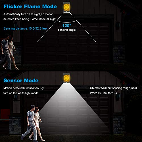 [4 Pack]Solar Wall Light with Flicker Flame, Derlights 72 LED 2 Modes Solar Motion Sensor Light Outdoor,IP65 Waterproof, Solar Flame Light for Garden Landscape Decoration Pathway Patio Fence Deck Yard by Derlights (Image #3)