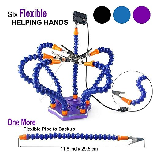 (Crazepony Soldering Station Tool with 7pcs Helping Hands ,Third Pana Hand (7 Arms,Non-slip Aluminum Base,Built in Trays,Heat Resistant covers, 360 Degree Swiveling Clips, Brushless DC Fan))
