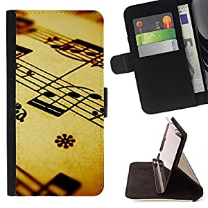 For Samsung Galaxy Note 3 III - Music Notation /Funda de piel cubierta de la carpeta Foilo con cierre magn???¡¯????tico/ - Super Marley Shop -