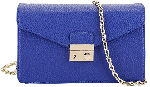 Heshe Ladies Genuine Leather Lichee Pattern Cross Body Shoulder Bag Satchel Handbag W Chain (Navy Blue)