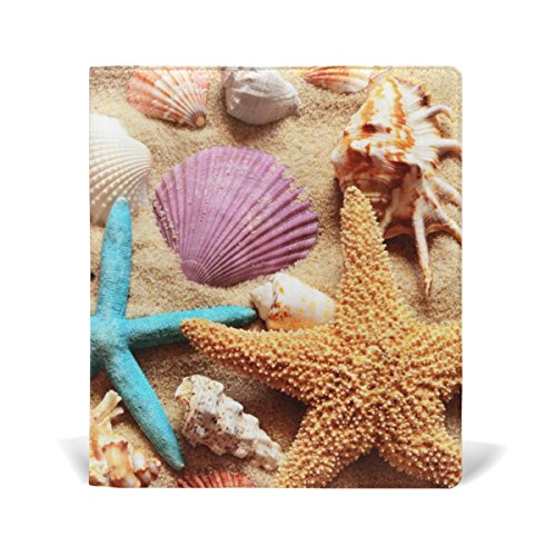 Hardback Cover Shell (Cooper girl Beach Starfish Shell Book Cover Fits Most School Hardcover Textbooks Up To 9 x 11 inch Durable Reusable Universal Size)