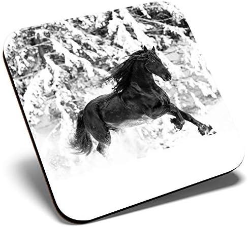 Gran posavasos cuadrado BW – Caballo Friesiano negro equino | Posavasos de calidad brillante | protección de mesa para cualquier tipo de mesa #37145