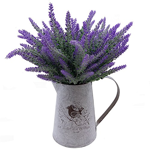 VANCORE French Style Shabby Chic Vase Metal Pitcher with 6 Pcs Lavender Flowers Set Ideal Gift