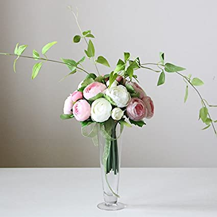 Amazon xhopos home artificial flowers glass vase rose pink real xhopos home artificial flowers glass vase rose pink real touch silk flowers home wedding party living mightylinksfo