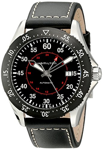 Hamilton Men's H76755735 Khaki Aviation Stainless Steel Automatic Watch with Black Leather Band