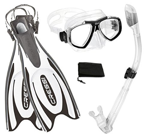 Cressi Frog Plus Fin Focus Silicone Mask Dry Snorkel Set, White, Medium/Large/Men's 8-10/Women's 10-12