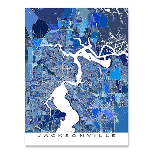 Jacksonville Map Print, Florida, City Wall Art, Blue (Jacksonville Fl Decor Home)