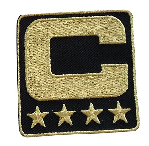 Black Captain C Patch (All Gold) Iron On for Jersey Football, Baseball. Soccer, Hockey, Lacrosse, Basketball]()