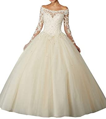 fa98492c85e Sophie Women s Off Shoulder Lace Appliques Sweet 16 Dresses Long Sleeves  Beaded Ball Gown Quinceanera Dresses