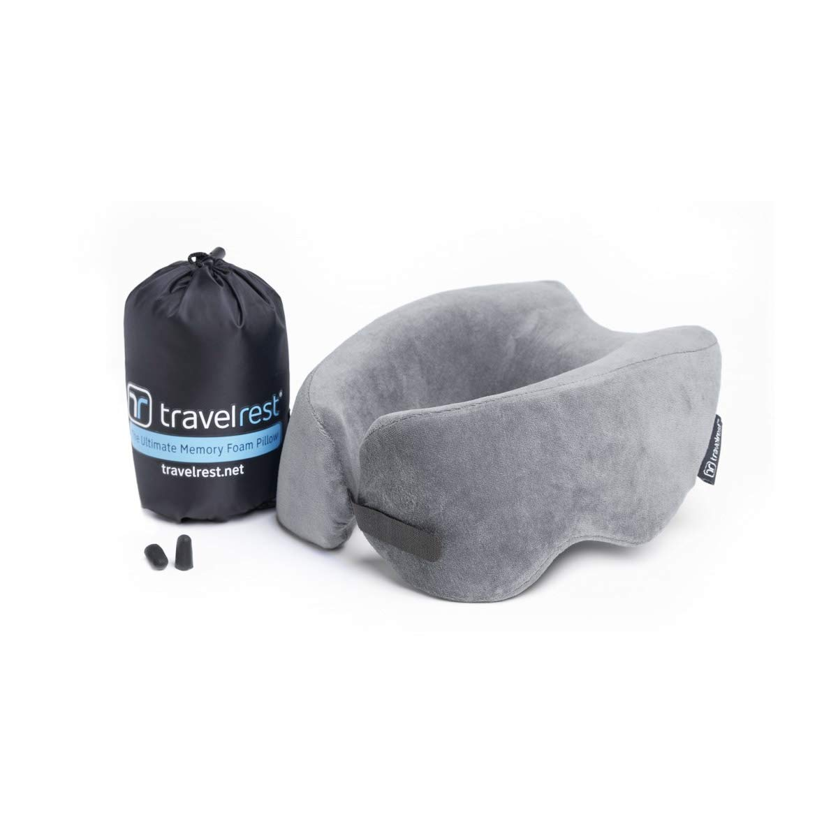 Travelrest Ultimate Memory Foam Travel Pillow / Neck Pillow - Therapeutic, Ergonomic & Patented - Washable Cover - Most Comfortable Neck Pillow - Compresses to 1/4 of its Size (2 Year Warranty) (Grey)