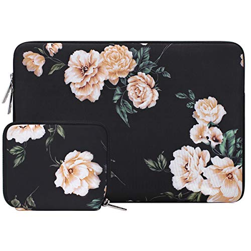 MOSISO Laptop Sleeve Compatible with 2019 2018 MacBook Air 13 inch Retina Display A1932, 13 inch MacBook Pro A2159 A1989 A1706 A1708, Water Repellent Neoprene Bag Cover with Small Case, Apricot Peony