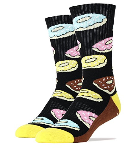 Oooh Yeah Socks Men's Luxury Combed Cotton Athletic Funny (DONUT MAGIC black)