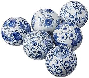 Amazon Com Oriental Furniture 3 Blue White Decorative Porcelain