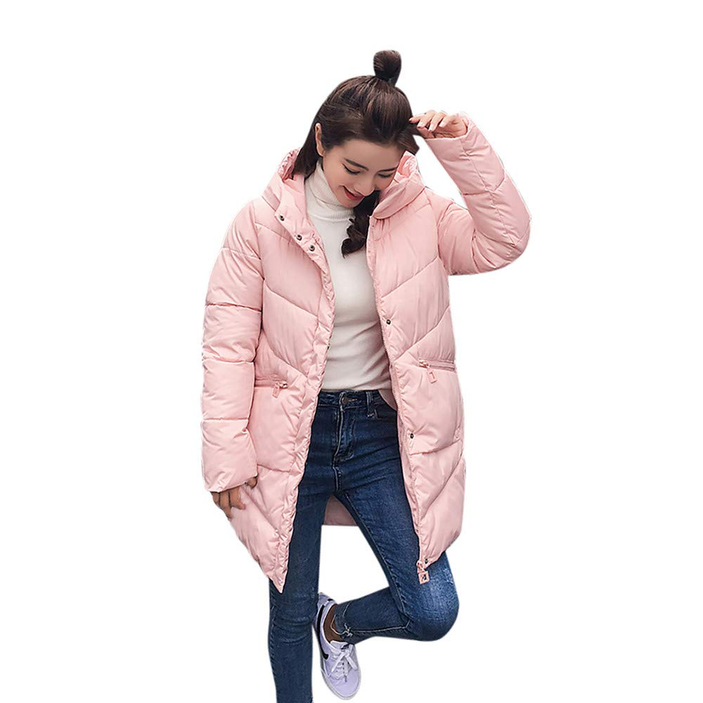 CUTUDE Coats for Women Winter Collar Long Jackets Warm Thicken Padded Hooded Overcoat