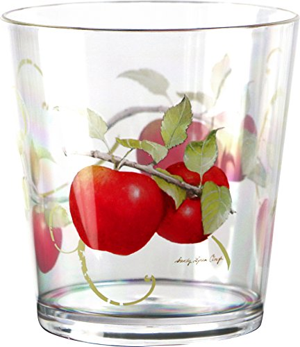 Reston Lloyd Harvest Apple Collection by Sandy Clough Acrylic Stemless Wine Glasses, 16-ounce, Set of 4 ()