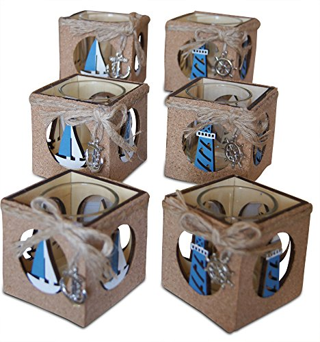 Shoreside Nautical 6-Piece Lighthouse & Sailboat Cork Covered Rustic Tea Light Candle Holder Home & Room Beach Decor