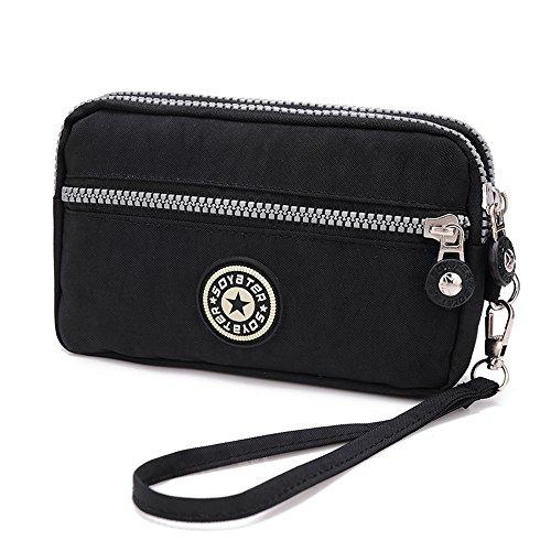 MISOFE Three Layers Zipper Purse Waterproof Nylon Wristlet Bag Clutch Handbag Cell Phone Pouch (Black)