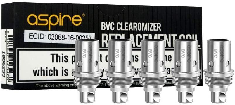 BDC Pack de 5 Certifié avec Code Authenticité Résistances Aspire Coil ET-S BVC