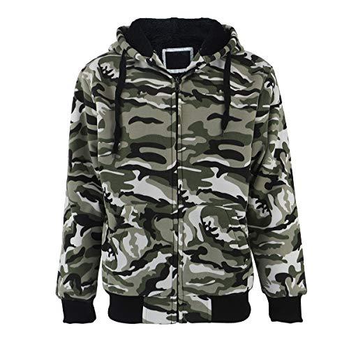 Men's Full Zip Sherpa Lined Coma Hoodie Sweatshirt-Camo Green-XL