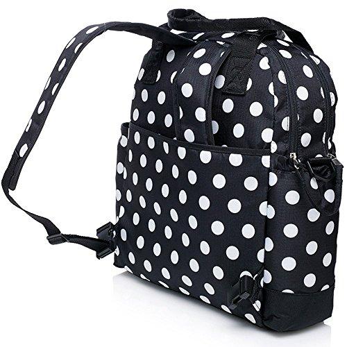 Centro de la mujer pañales Nappy Bolsa 4pcs mochila lunares Caqui negro negro Talla:largo negro
