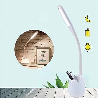 ZhayXS Lámpara Escritorio LED Blanca con Portalápices Lámparas de ...