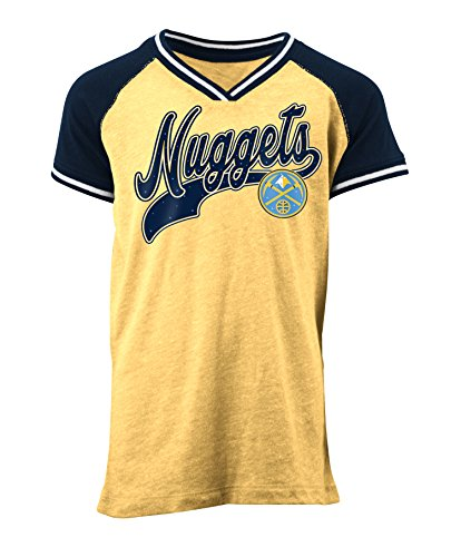 5th & Ocean NBA Denver Nuggets Children Girls Youth Tri Blend Jersey V Neck Short Sleeve,L,Tri Natural ()