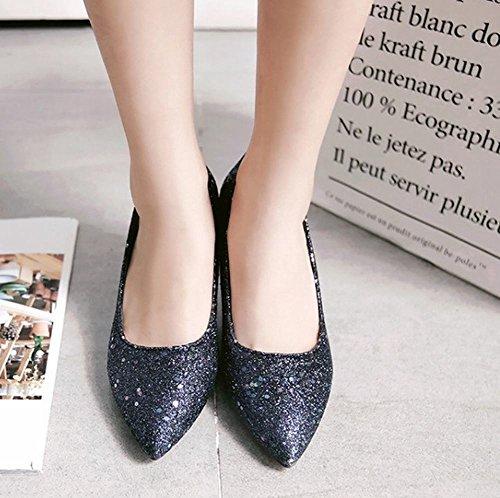 MissSaSa Damen modern high heel glitzer Pointed Toe Pumps mit Pailletten Blau(blau-schwarz)