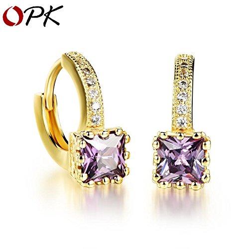 Ms. square Micro Pave zircon earrings 18K gold plated purple diamond earrings earrings small jewelry wholesale