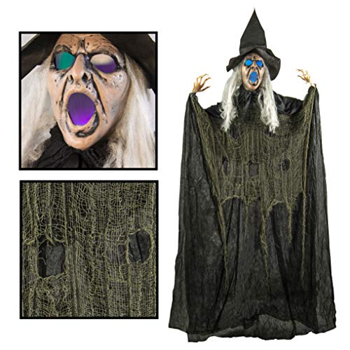 Creepy Looking 6 Feet Witch Halloween Decorations with Glowing Eyes ()