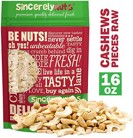 Sincerely Nuts – Raw Cashew Pieces | One Lb. Bag | Deluxe Kosher Snack Food | Healthy Source of Protein, Vitamin & Nutritional Mineral Content | Vegan, Keto, Paleo | Gourmet Quality Cashew Nut