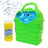 WhizBuilders Bubble Machine with Bubbles Solution Durable Bubble Blower for Boys and Girls - Indoor...