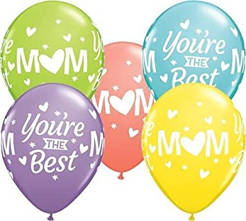 Mum Mom You Re The Best Qualatex 11 Inch Latex Balloons Sorbet Assortment 5 Pack Amazoncouk Toys Games