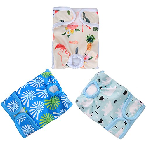 Picture of LUXJA Reusable Female Dog Diapers (Pack of 3), Washable Wraps for Female Dog (X-Small, Flamingos+Polar Bears+Flowers)