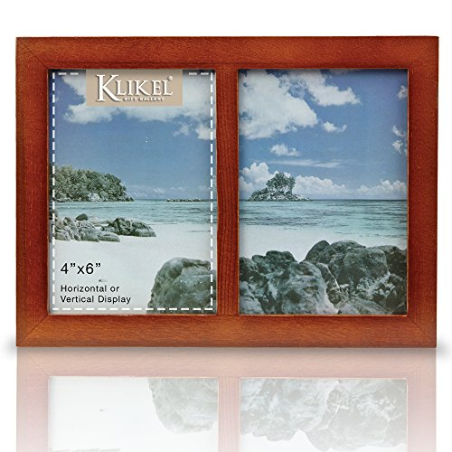 Klikel Two Photo Collage Solid Walnut Brown Wood Picture Fra