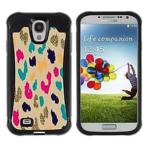 Suave TPU Caso Carcasa de Caucho Funda para Samsung Galaxy S4 I9500 / Gold Leopard Animal Pattern Cheetah / STRONG
