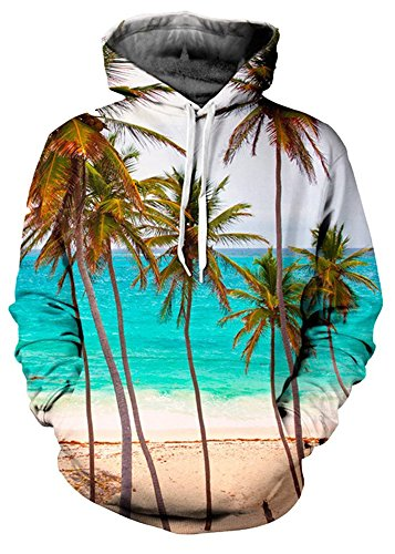 Delcoce Unisex Digital Print Big Pockets Long Sleeve Pullover Hoodie Sweatshirts